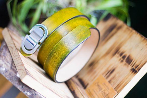 Thắt lưng handmade, Nhuộm Patina xanh rêu 3