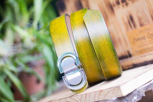 Thắt lưng handmade, Nhuộm Patina xanh rêu 8