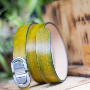Thắt lưng handmade, Nhuộm Patina xanh rêu 14