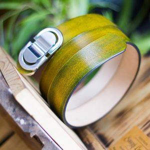 Thắt lưng handmade, Nhuộm Patina xanh rêu 12