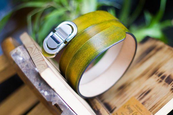 Thắt lưng handmade, Nhuộm Patina xanh rêu 5