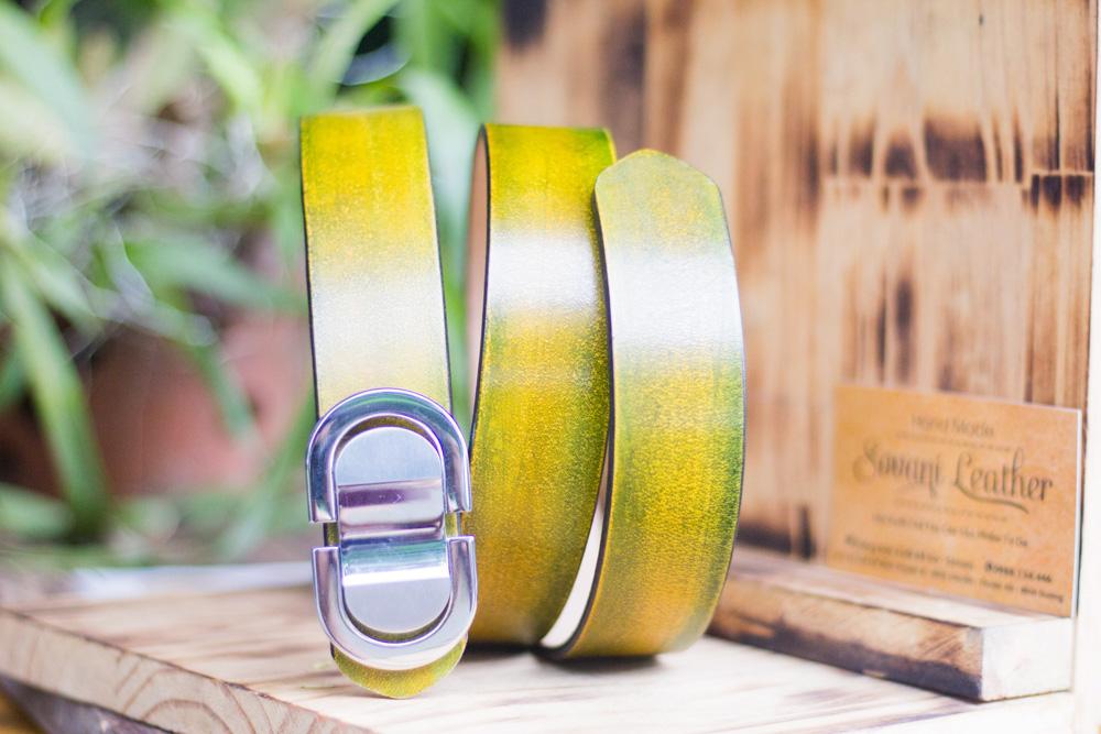 Thắt lưng handmade, Nhuộm Patina xanh rêu 22