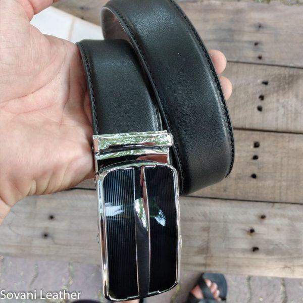 Thắt lưng da bò Pullup, Màu đen, Khóa hợp kim 8
