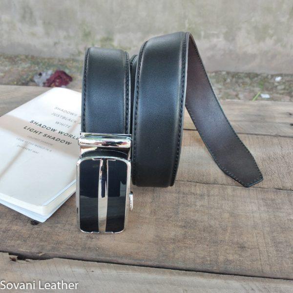 Thắt lưng da bò Pullup, Màu đen, Khóa hợp kim 3
