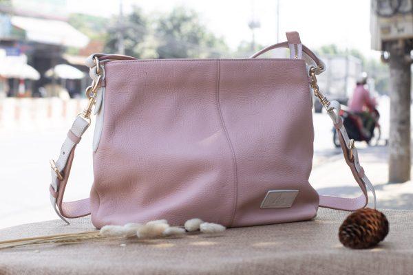 Túi xách nữ cỡ lớn, màu hồng sữa 9