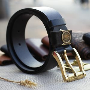 Thắt lưng nam da bò - Khóa đồng, màu đen sang trọng 19