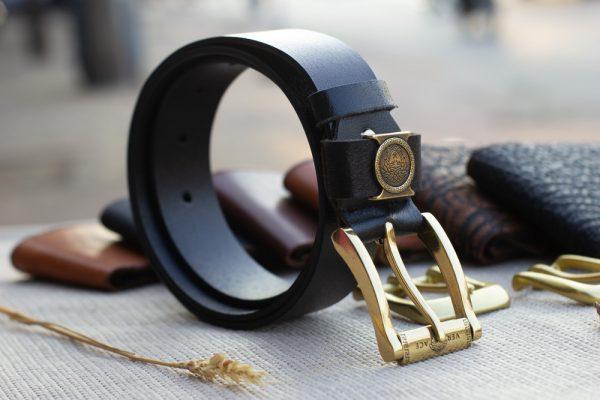 Thắt lưng nam da bò - Khóa đồng, màu đen sang trọng 11