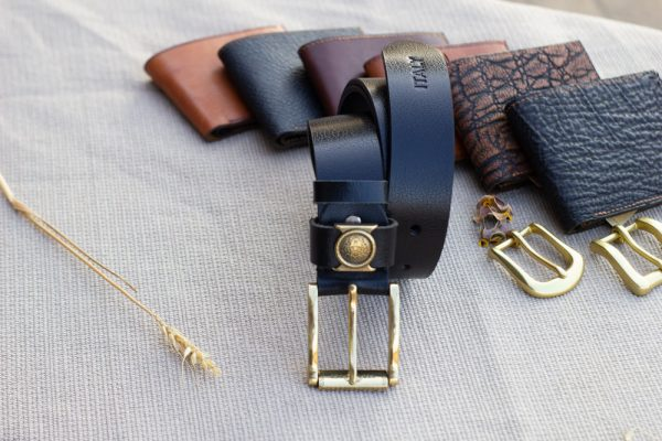 Thắt lưng nam da bò - Khóa đồng, màu đen sang trọng 8
