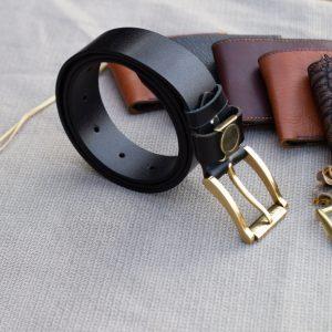 Thắt lưng nam da bò - Khóa đồng, màu đen sang trọng 14
