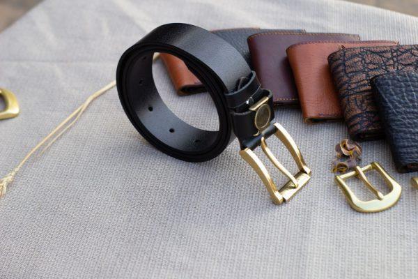 Thắt lưng nam da bò - Khóa đồng, màu đen sang trọng 6