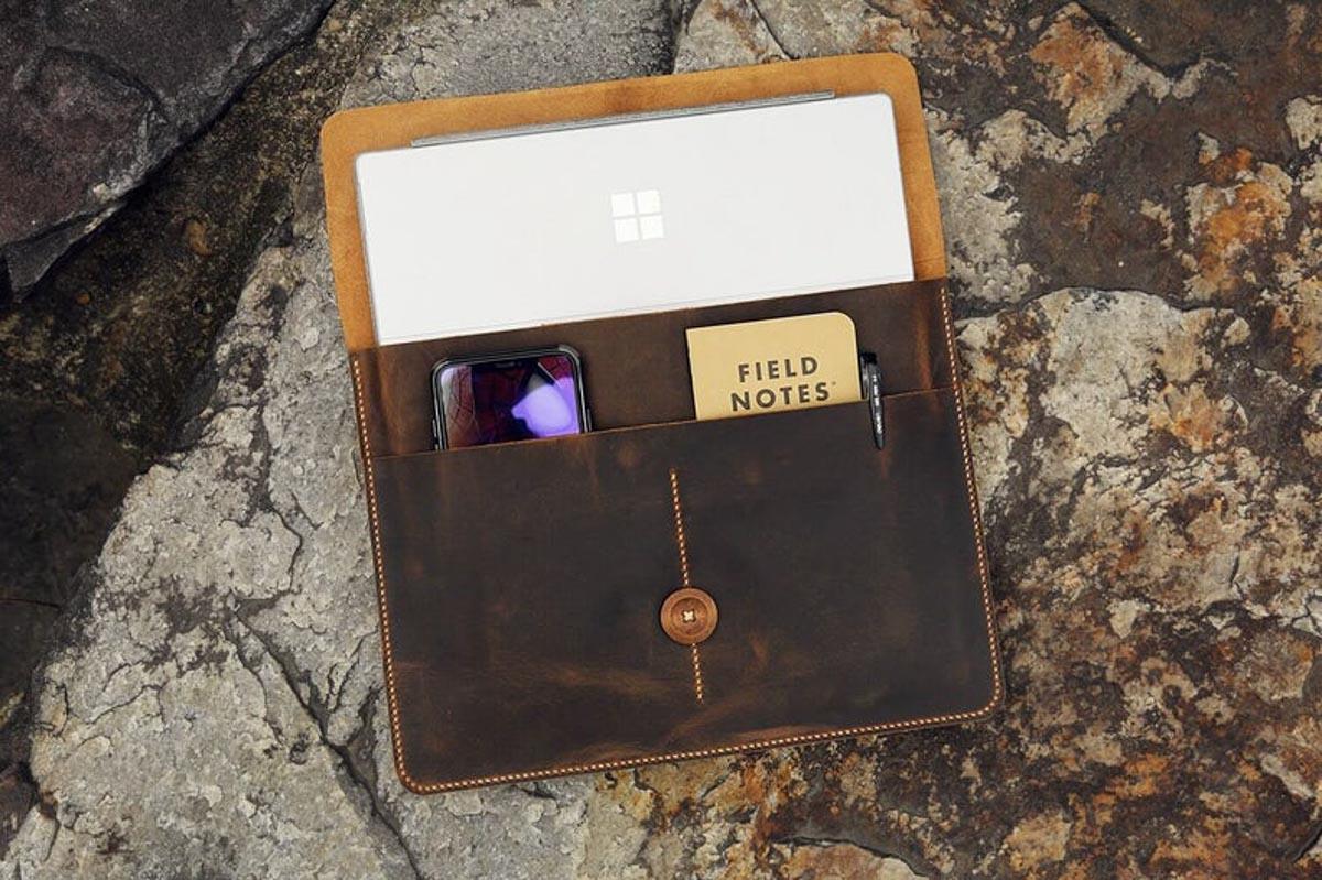 Túi da handmade đựng Macbook, Laptop Surface 15