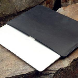 Túi da handmade đựng Macbook, Black color 13