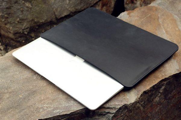 Túi da handmade đựng Macbook, Black color 8