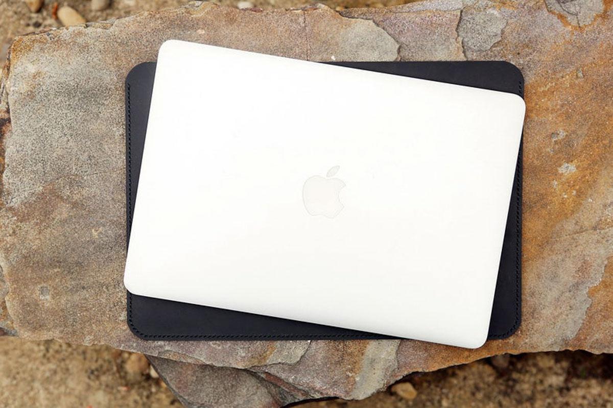 Túi da handmade đựng Macbook, Black color 18