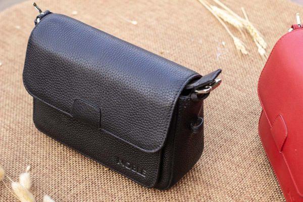 Túi xách nữ da thật cỡ nhỏ, màu đen 9