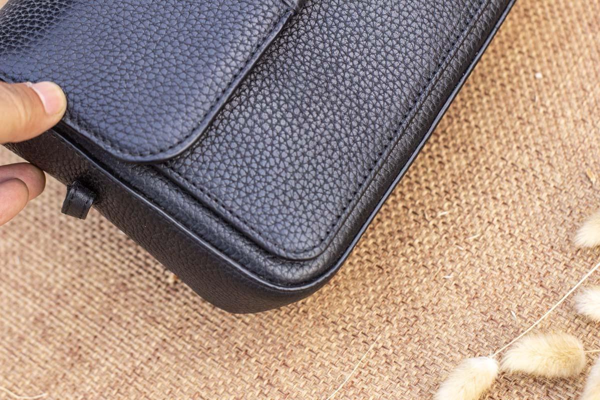 Túi xách nữ da thật cỡ nhỏ, màu đen 19