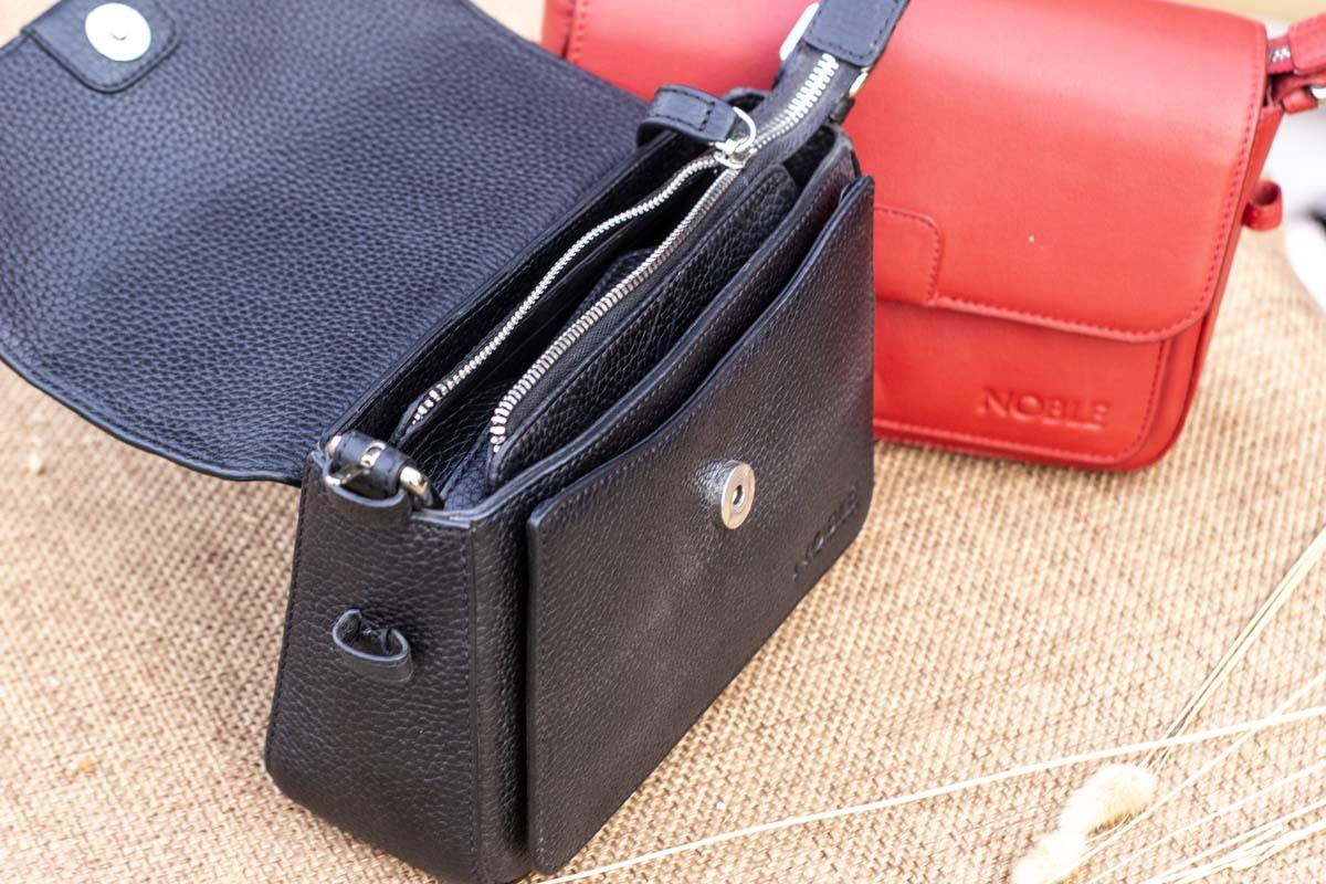 Túi xách nữ da thật cỡ nhỏ, màu đen 23