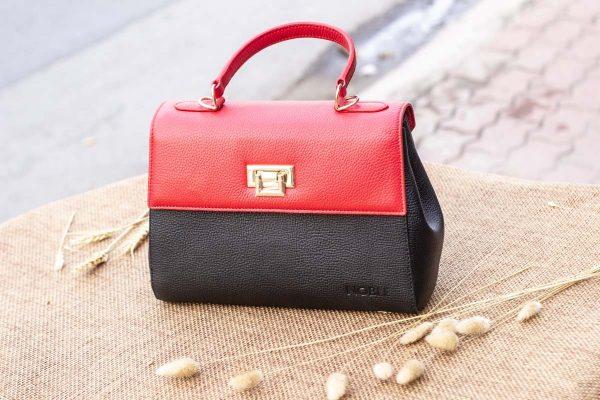 Túi xách nữ trung, màu đỏ đen 3