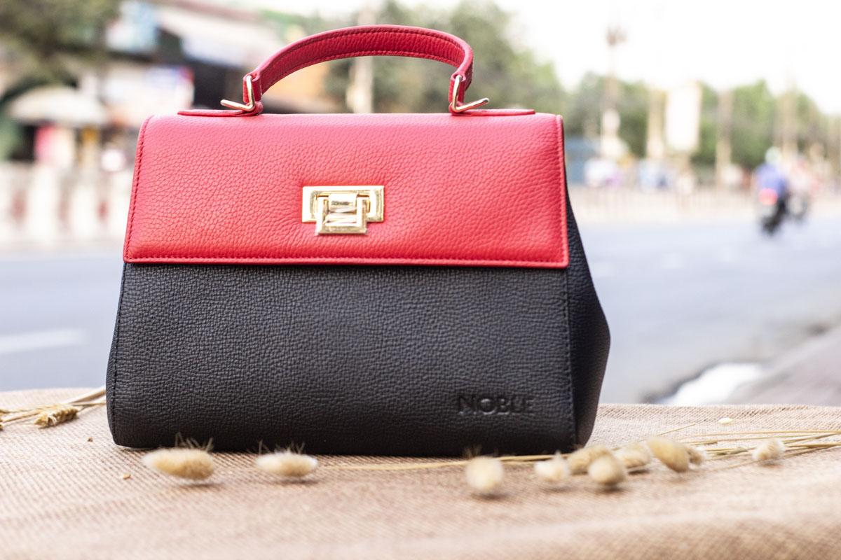 Túi xách nữ trung, màu đỏ đen 17