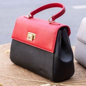 Túi xách nữ trung, màu đỏ đen 14