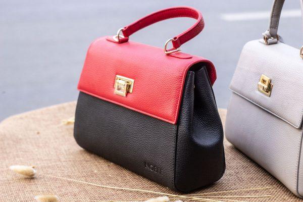 Túi xách nữ trung, màu đỏ đen 8