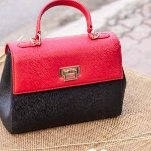 Túi xách nữ trung, màu đỏ đen 13
