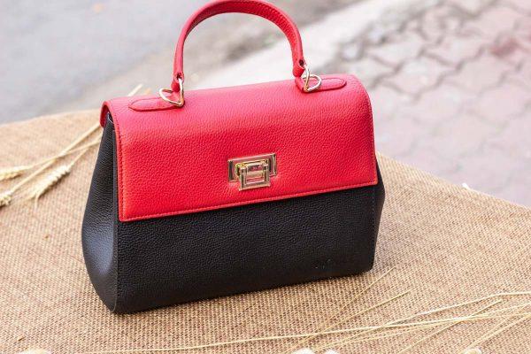 Túi xách nữ trung, màu đỏ đen 7