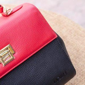 Túi xách nữ trung, màu đỏ đen 12