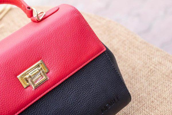 Túi xách nữ trung, màu đỏ đen 6