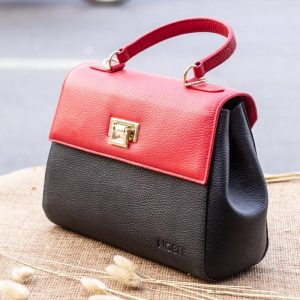 Túi xách nữ trung, màu đỏ đen 11