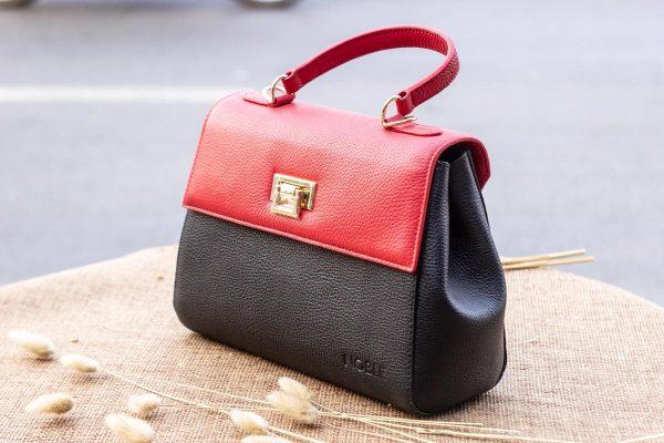 Túi xách nữ trung, màu đỏ đen 5