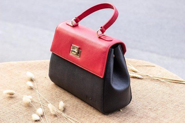Túi xách nữ trung, màu đỏ đen 4