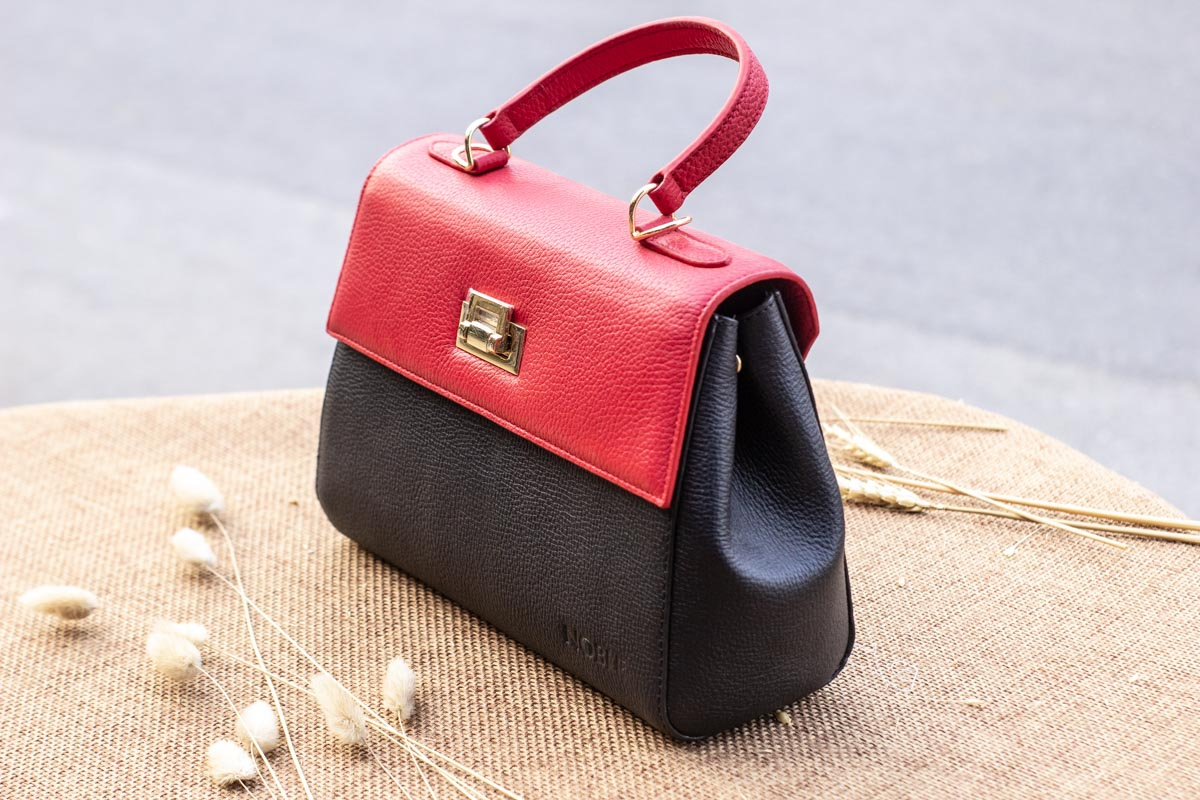 Túi xách nữ trung, màu đỏ đen 23