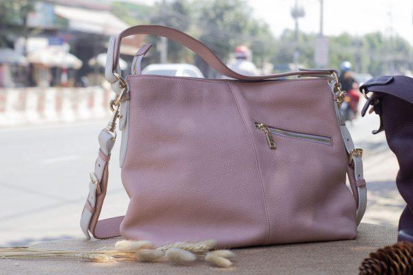 Túi xách nữ cỡ lớn, màu hồng sữa 5