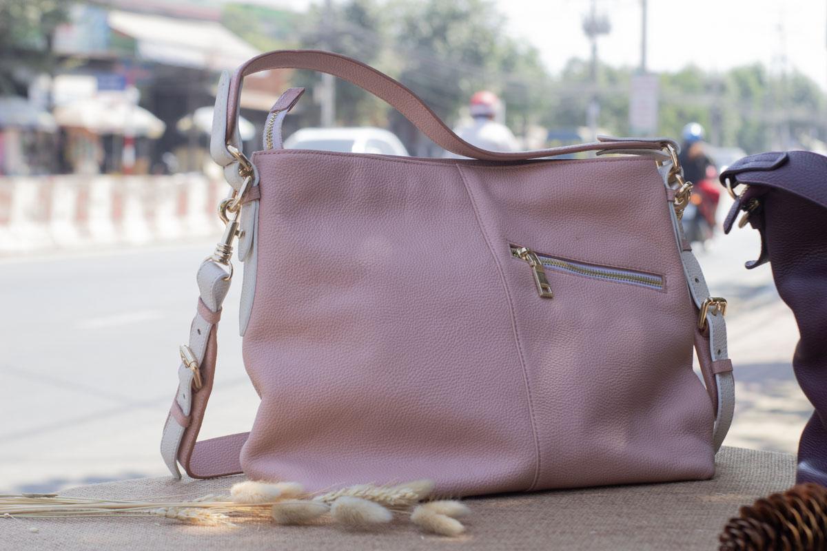 Túi xách nữ cỡ lớn, màu hồng sữa 20
