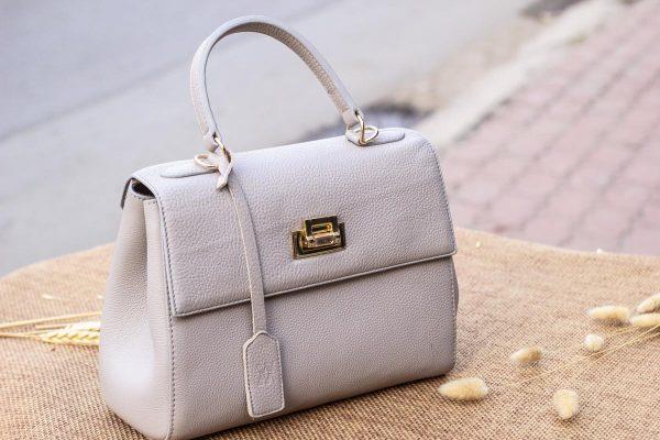 Túi xách nữ da thật, màu trắng sữa 7