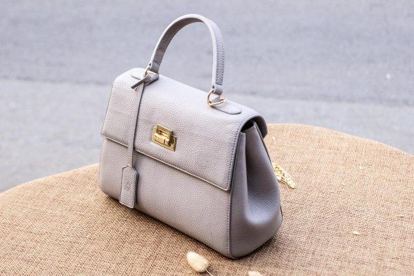 Túi xách nữ da thật, màu trắng sữa 6