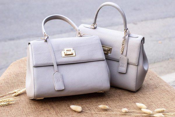 Túi xách nữ da thật, màu trắng sữa 5
