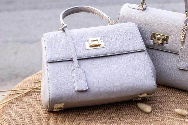 Túi xách nữ da thật, màu trắng sữa 4