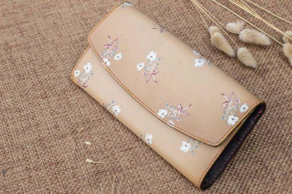 Ví cầm tay nữ handmade, in hoa 6
