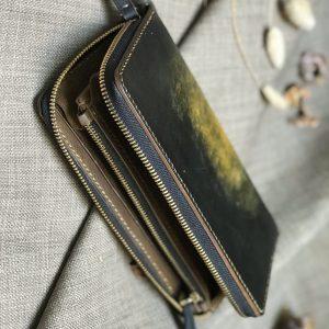 Ví zip handmade cao cấp - Vegetable tan patina 13