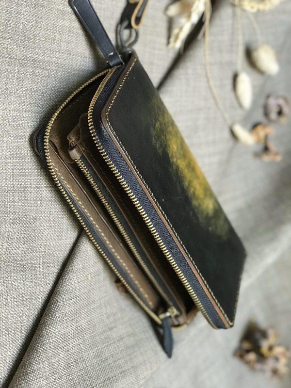 Ví zip handmade cao cấp - Vegetable tan patina 7