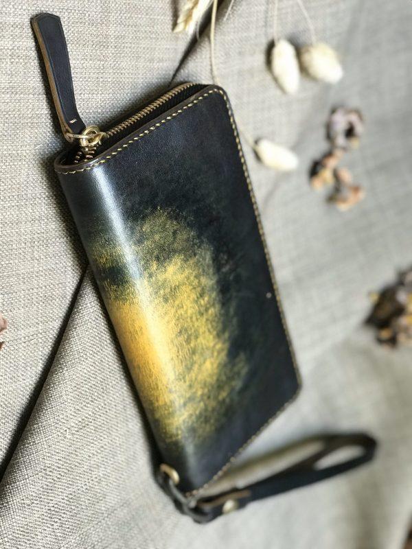 Ví zip handmade cao cấp - Vegetable tan patina 4