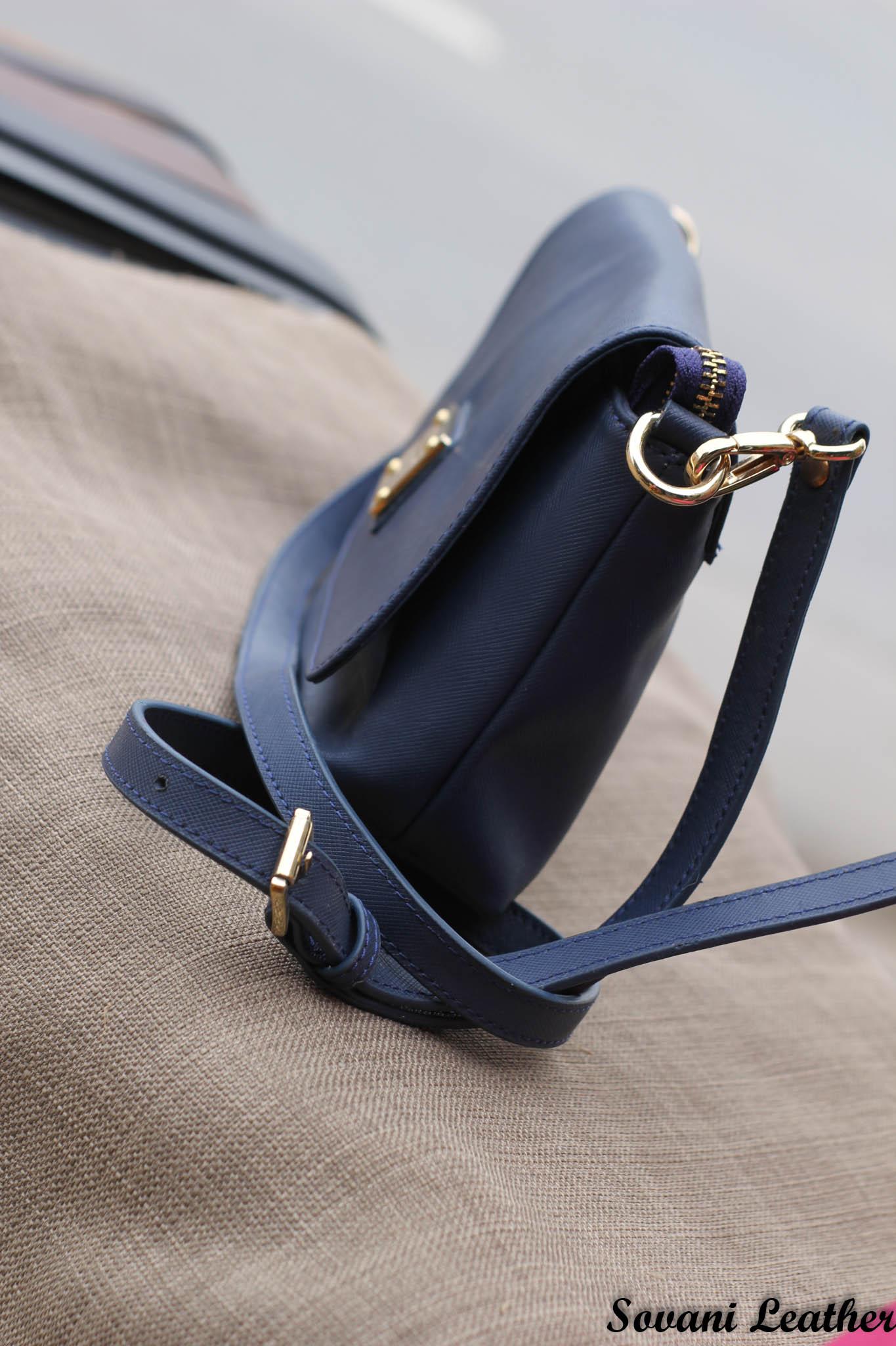 Túi xách nữ da bò màu xanh Navy 14