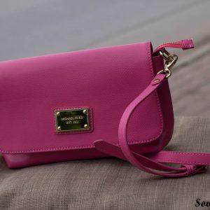 Túi xách nữ da bò màu hồng sen 17