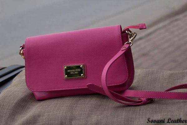 Túi xách nữ da bò màu hồng sen 3