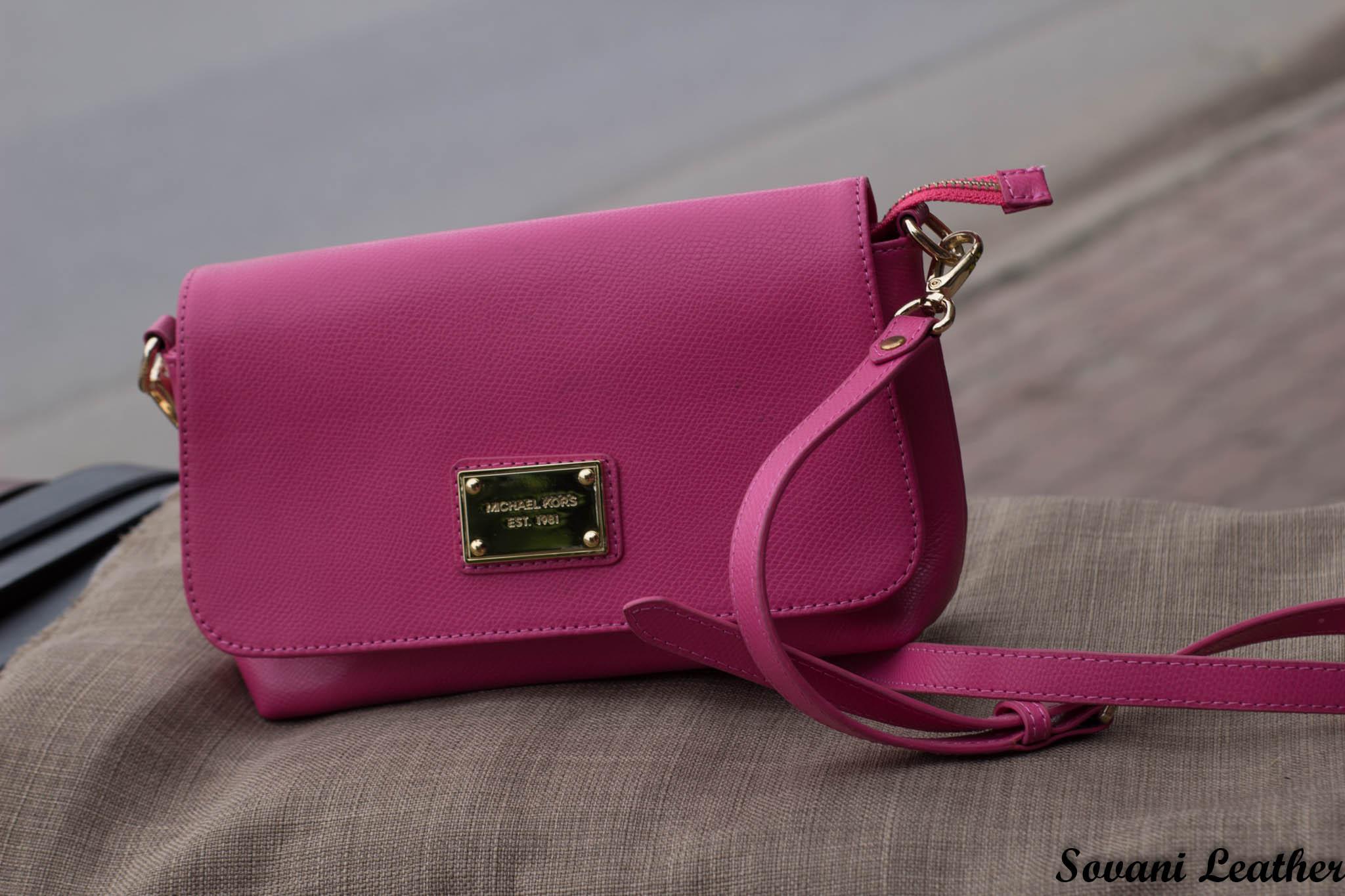 Túi xách nữ da bò màu hồng sen 18