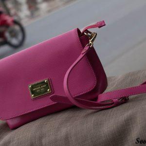 Túi xách nữ da bò màu hồng sen 11