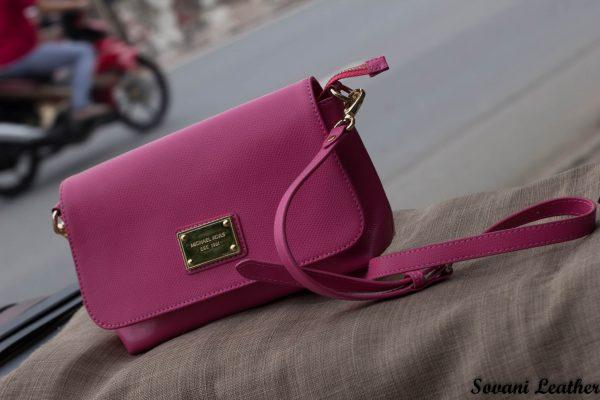 Túi xách nữ da bò màu hồng sen 4