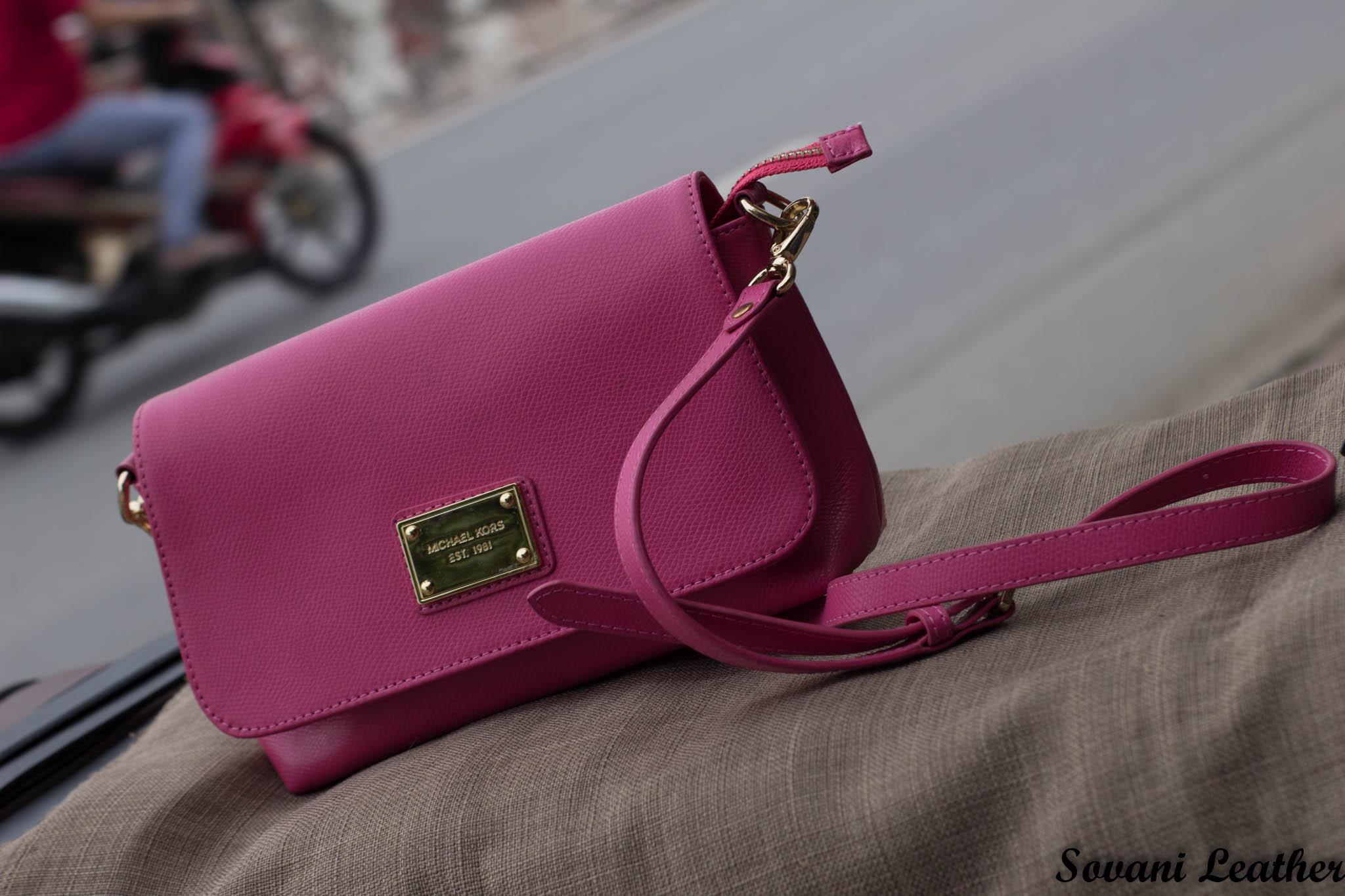 Túi xách nữ da bò màu hồng sen 19